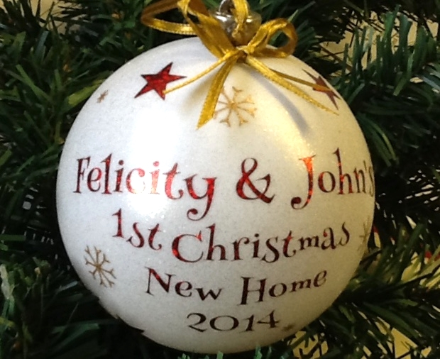 Large White Personalised New Home Christmas Tree Bauble