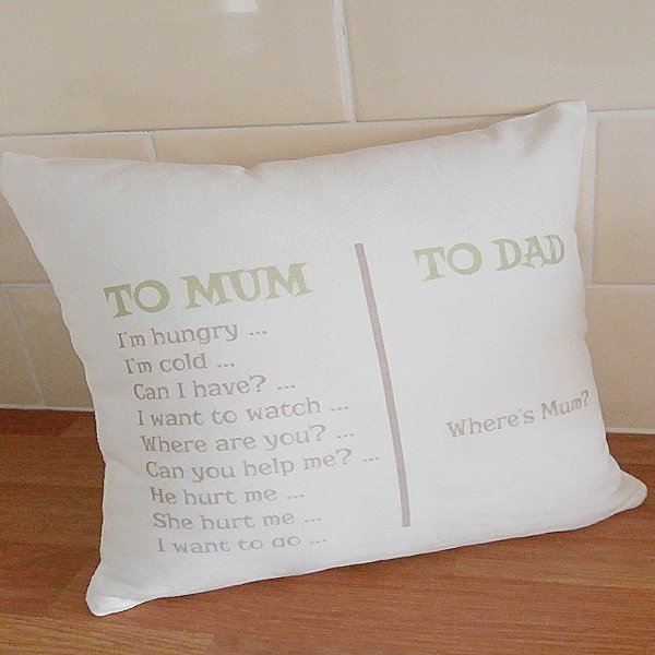 """Where's Mum?"" Funny Personalised Cushion"