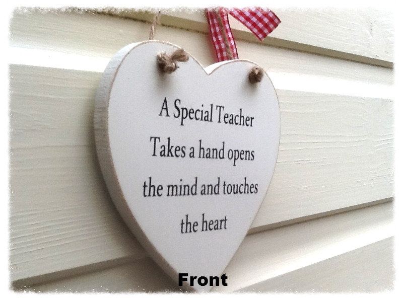 A Double - Sided Personalised Teacher Wooden Heart Gift