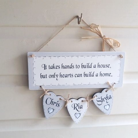 A Hand Made Family plaque - It Takes Hands To Build A House