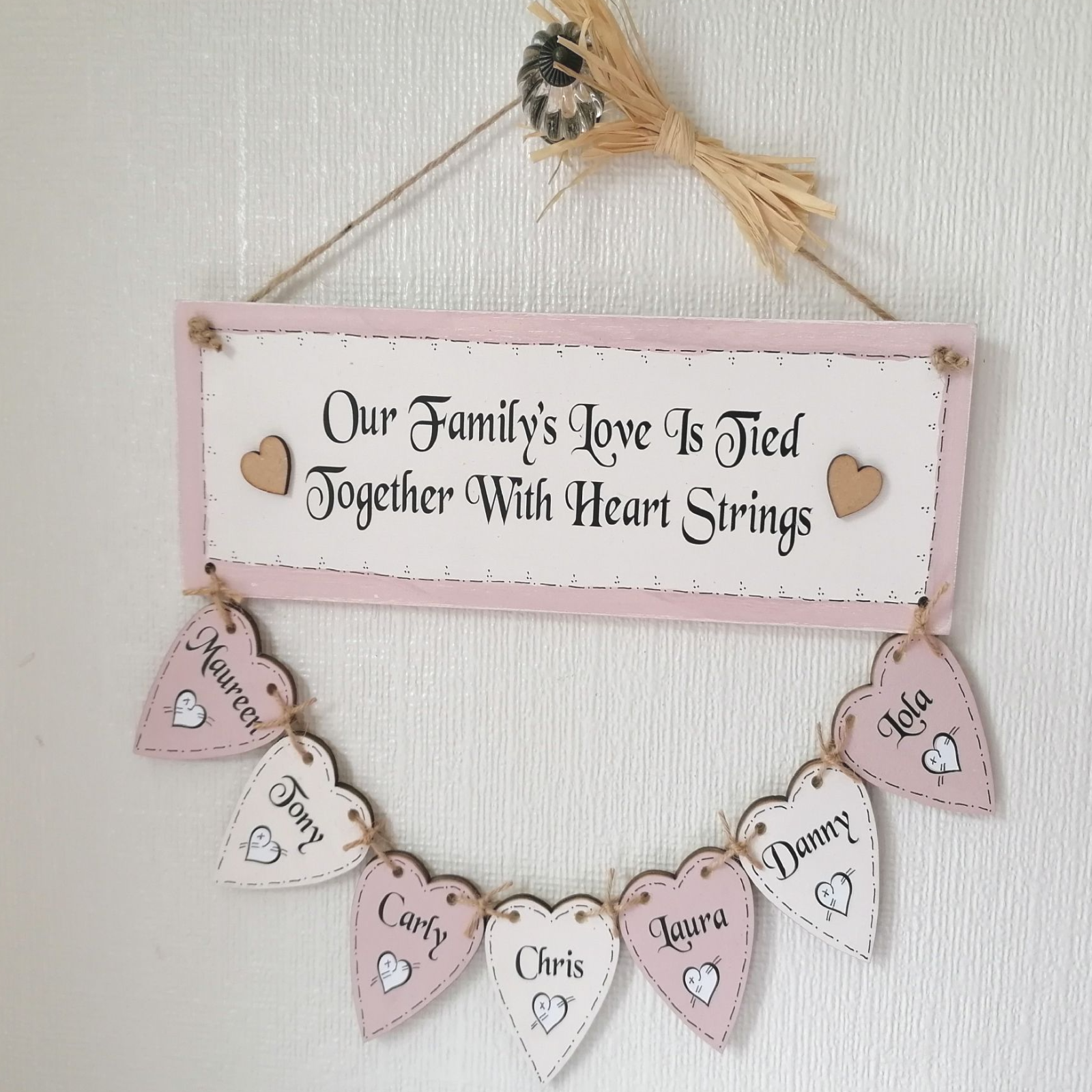 A Hand Made Personalised Family Tree With 6 Hearts