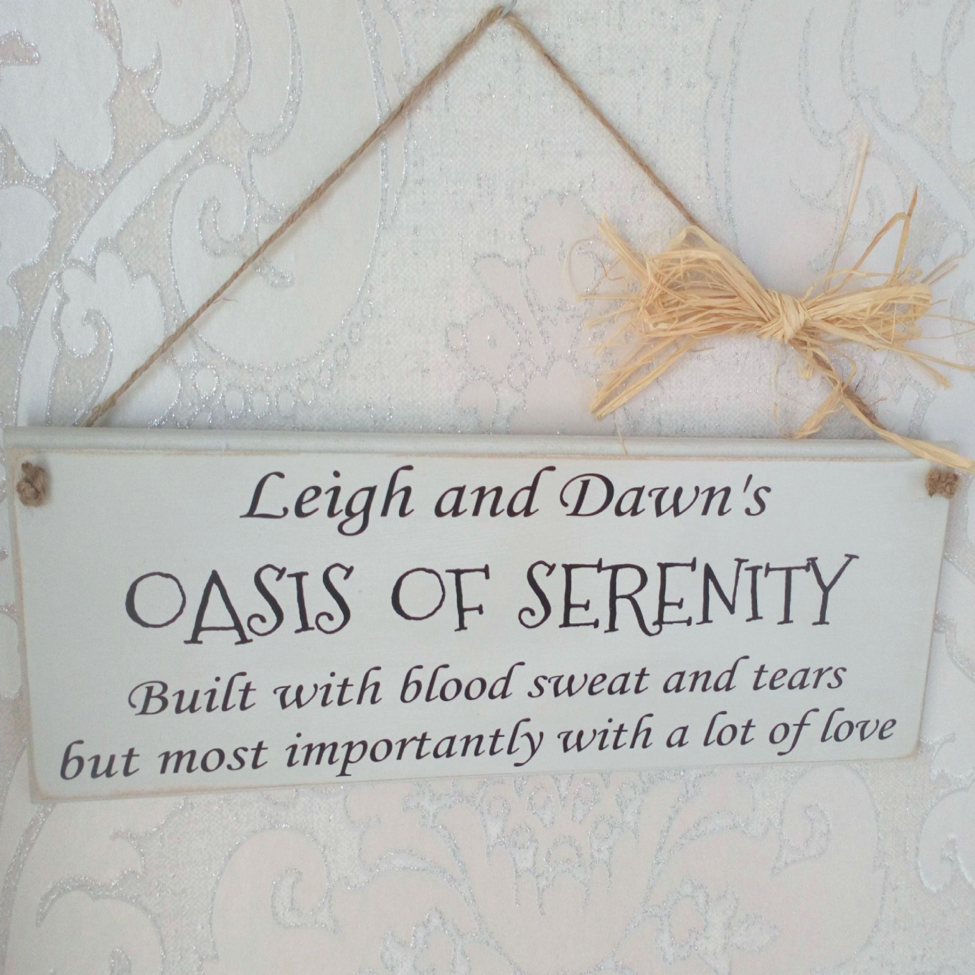 A Large Routered Edged Chalk Painted 35cm Plaque