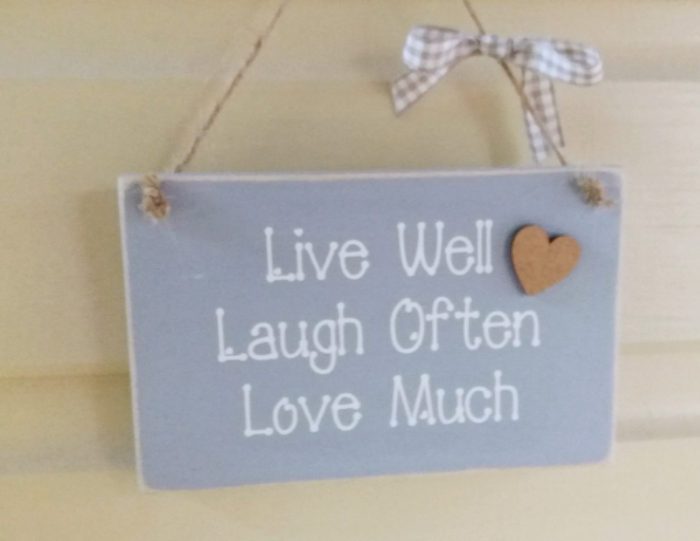 Cute Plaque In Pastel Chalk Paints - Live Well Laugh Often Love Much