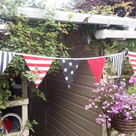 Fabric Bunting In Black Red And White