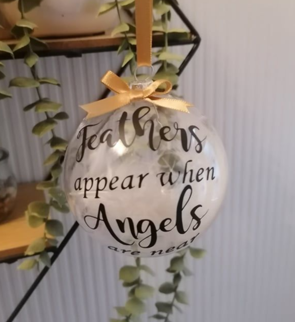 Feathers Clear Memory Christmas Tree Bauble