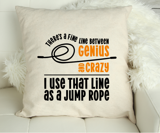 Genius or Crazy' Funny Canvas Cushion