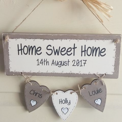 Hand Made Personalised 'Home Sweet Home' - With Date