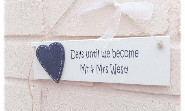 Handmade Personalised Wedding Countdown Plaque