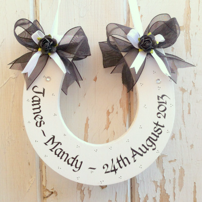 Handmade Wedding Horseshoe In Black and White