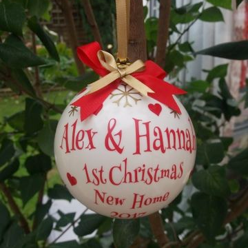 Large Personalised New Home Christmas Tree Bauble