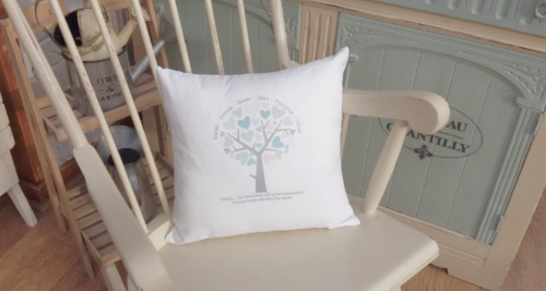 Large White Family Tree Personalised Cushion