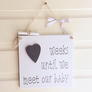 New Baby Chalkboard Heart Countdown Plaque