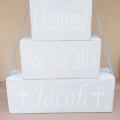 Personalised Christening Blocks Hand Painted In Chalk Paint