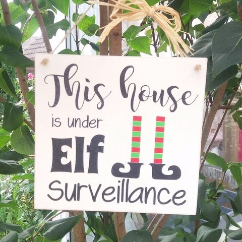 Personalised Elf Surveillance Wooden Plaque