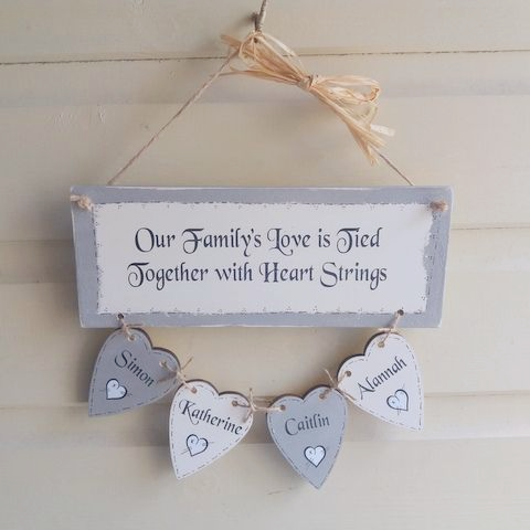 Personalised Family Keepsake With Four Hearts