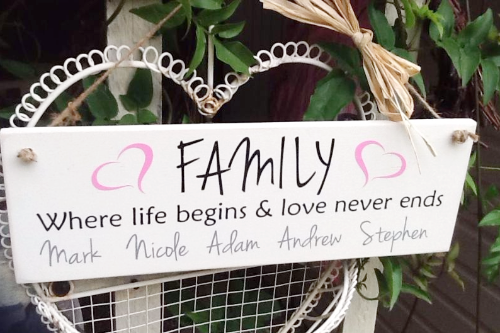 Personalised FAMILY Plaque Where Life Begins & Love Never Ends
