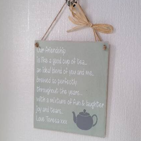 Personalised Friends Are Like Tea? Wooden Plaque