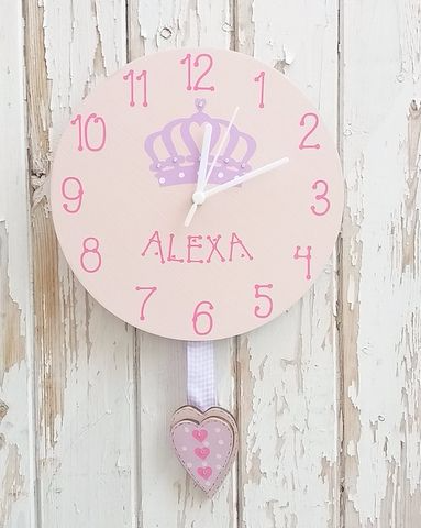 Personalised Girls Princess Hand Made Clock
