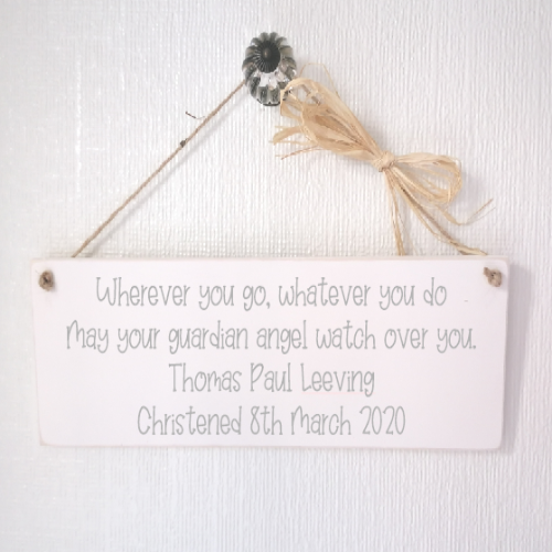 Personalised Guardian Angel Christening Keepsake Plaque