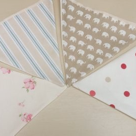 Personalised Hand Made Bunting Dots Stripes And Floral