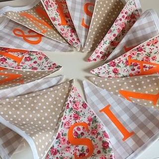 Personalised Hand Made Vintage Wedding Bunting