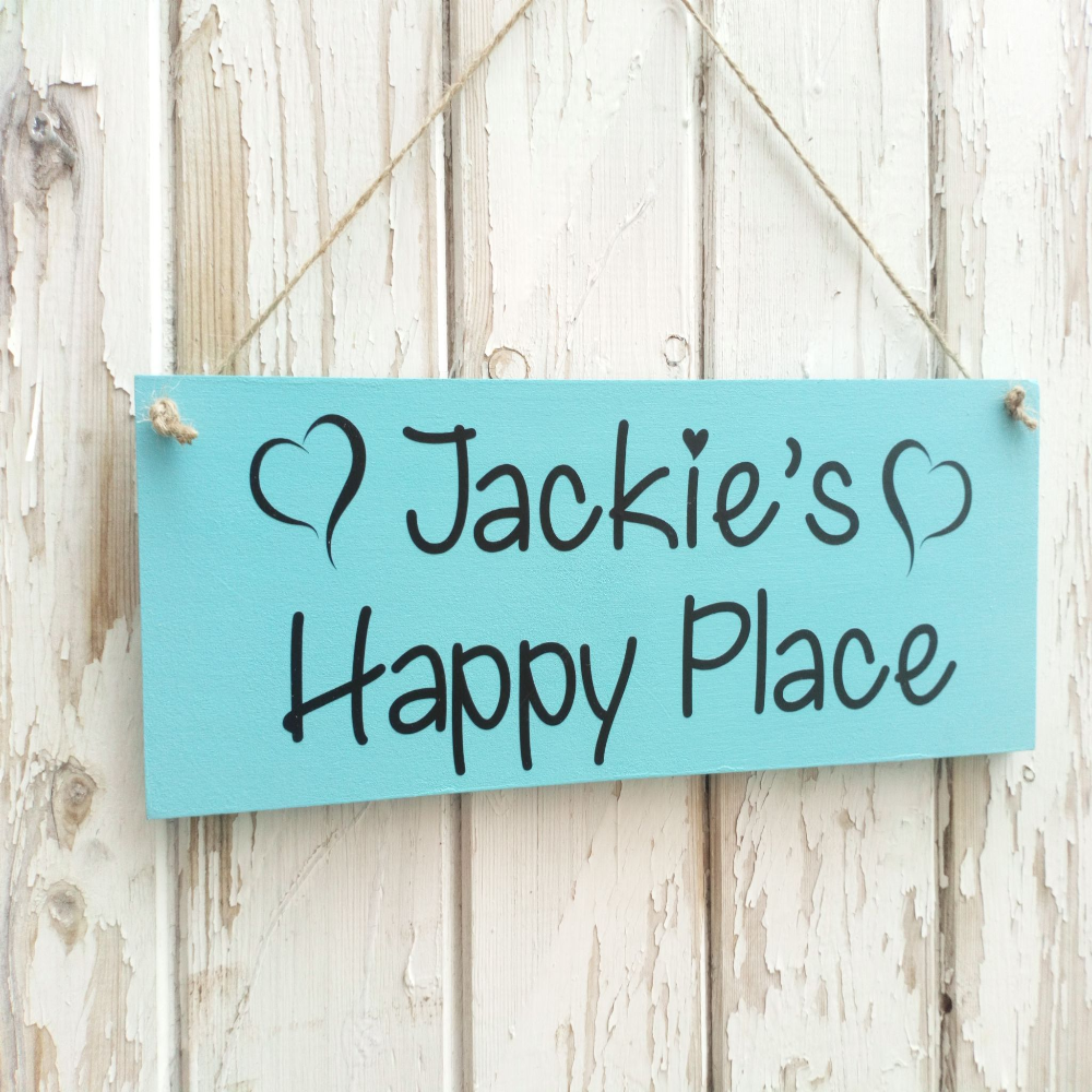 Wooden Personalised My Happy Place Plaque