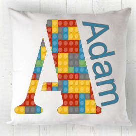 Personalised Initial Lego Cushion