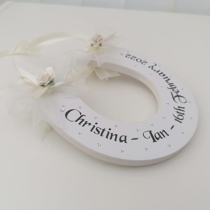 Personalised Lucky Wedding Horseshoe With Organza Ribbon