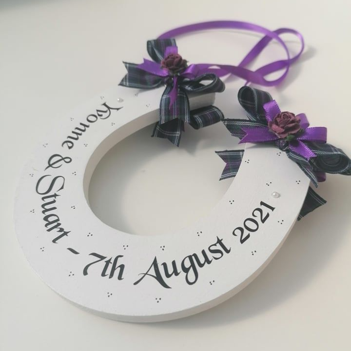 Personalised Tartan Wedding Horseshoe Keepsake Gift