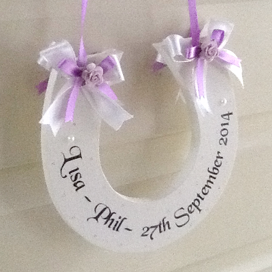 8ef2df66b75 Personalised Handmade Wedding Horseshoe Gift In Ivory and Lilac