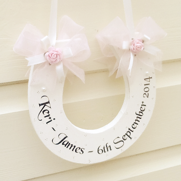 Handmade Personalised Wedding Horseshoe In Baby Pink Organza