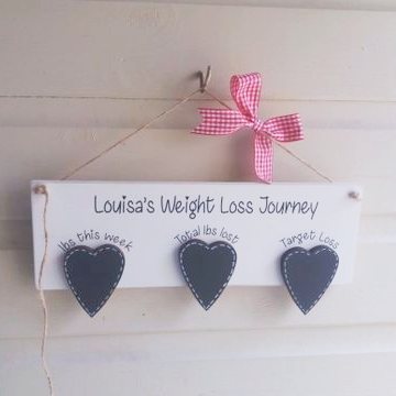 Personalised Weight Loss Chalk Board Heart Plaque
