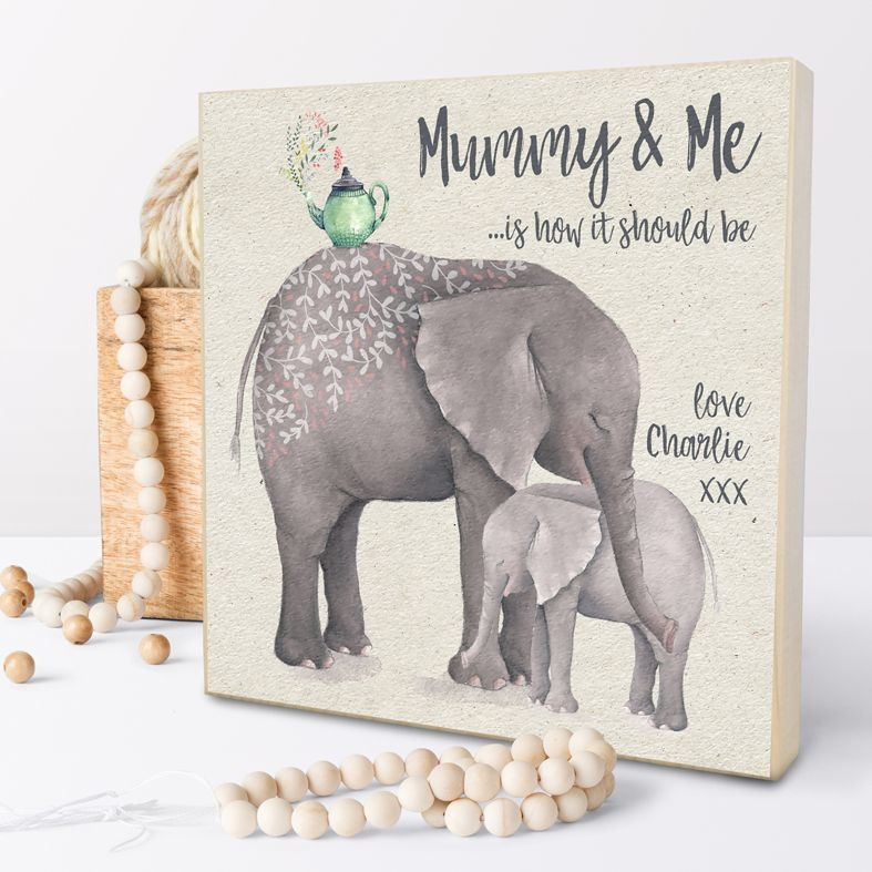 Personalised Wooden Picture Block - Mummy And Me
