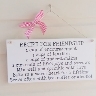 Recipe For Friendship Plaque With Gingham Ribbon