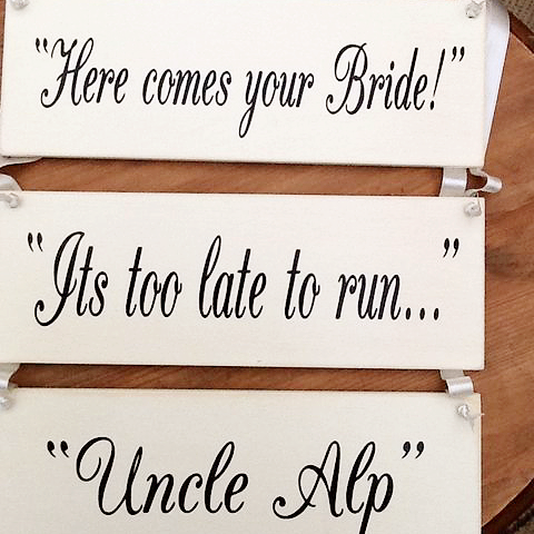 Set Of 3 Personalised wedding Aisle Plaques/Signs