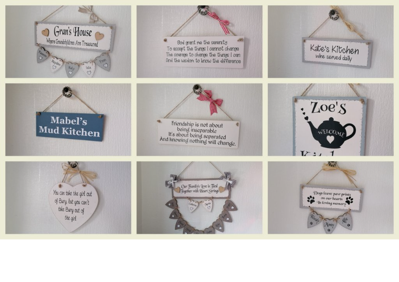 Personalised unique gifts.  Wooden handmade plaques